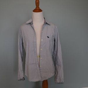 Abercrombie & Fitch Blue Striped Button Down Shirt